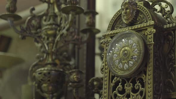 Thumbnail for Antique Shop Old Gold Clock With Ornaments