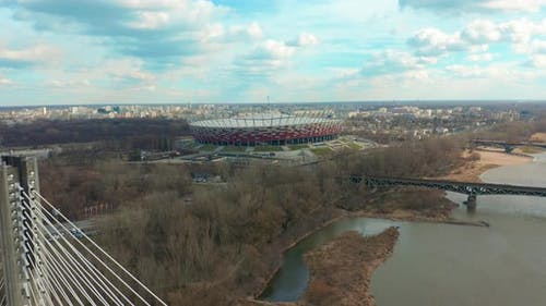 Establishing Aerial View of Warsaw Stadium PGE City Center Palace of Culture and Science