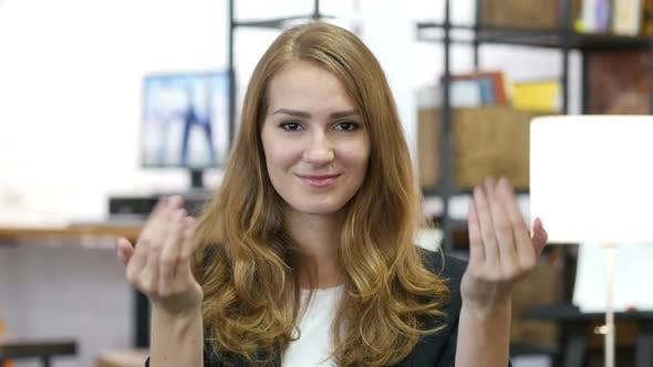 Thumbnail for Invitation Gesture by Girl at Work in Office, Come On