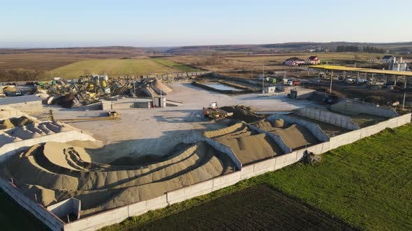 Aerial Drone Flying Large Area of the Plant for the Production of Cobblestones