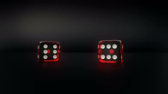 Thumbnail for Pair Of Red Glass Casino Dice Roll Slow Motion Result Five And Three