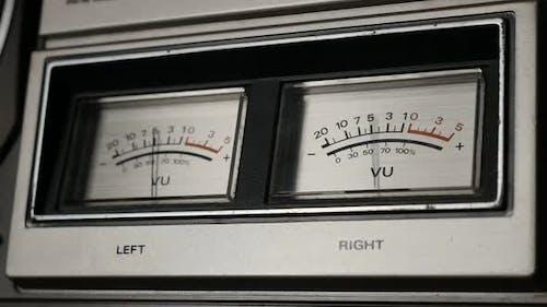 Slow motion of vintage audio device analog VU meter 1080p FullHD footage - Standard volume indicator