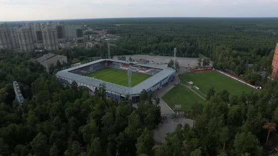 Aerial View of Open-air Sports Facilities in the City