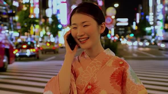 Japanese Woman Kimono Shinjuku Japan