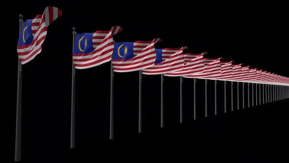 Row Of Malaysia Flags With Alpha 2K