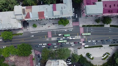 Bus Stop Aerial Shoot - Traffic in the city