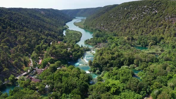 Thumbnail for Drone Aerial Video Footage Flying Over Krka National Park Waterfalls, Croatia