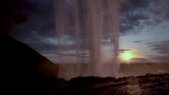Cover Image for Seljalandfoss Waterfall in Sunset Time, Iceland