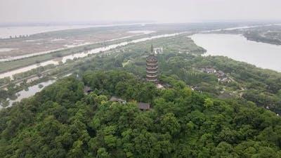 Ancient Pagoda on Mountain, Asia