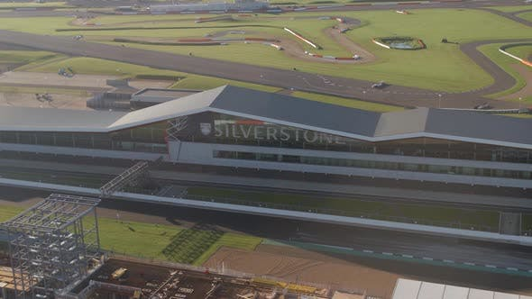 The Wing of Silverstone Race Track and International Pit Straight in the Morning