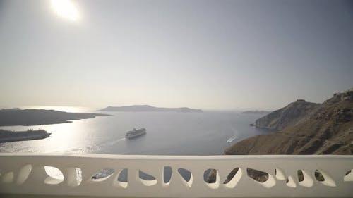Fantastic View From Veranda High up on Santorini Island