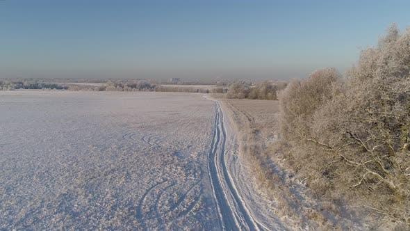 Winter Landscape in Countryside
