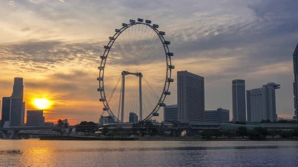 Panorama of the Sunset in Singapore