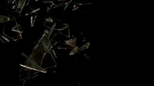 Smashed and Shattered Glass With Slow Motion