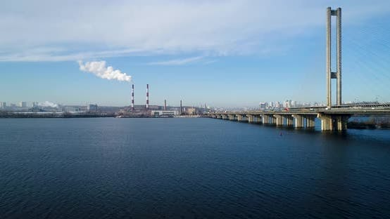 Thumbnail for Aerial View of the Waste Incinerator Plant With Smoking Smokestack