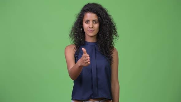 Thumbnail for Young Beautiful Hispanic Businesswoman Giving Handshake