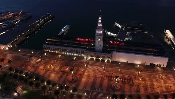 Thumbnail for San Francisco aerial drone downtown waterfront at night with city lights
