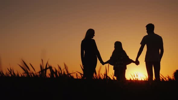 Thumbnail for A Young Family with a Child Admiring the Sunset