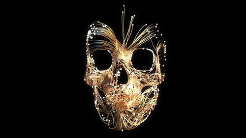 3D abstract skull in line art