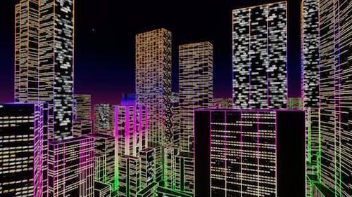 Flight Through Big Futuristic Neon City