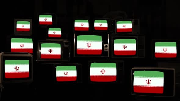 Thumbnail for Flags of Iran on Many Retro TVs.