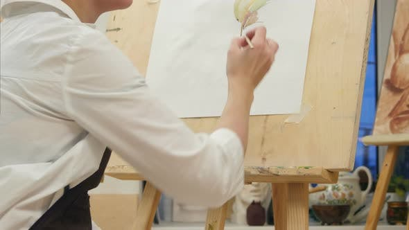 Thumbnail for Painting Process of Woman Artist in Art Workplace