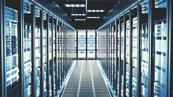 Thumbnail for Cloud Computing Datacenter Server Room Server Server Racks in modernem Rechenzentrum