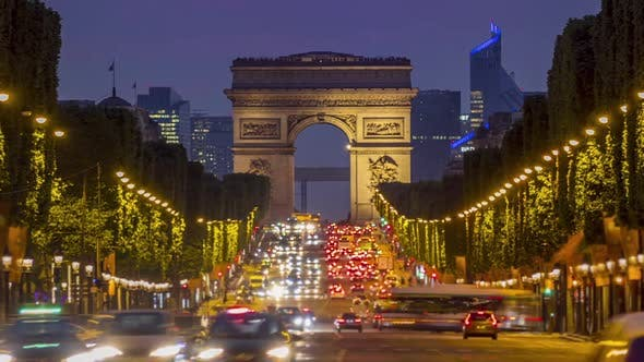 Thumbnail for Champs Elysees and the Arc de Triomphe at Sunset