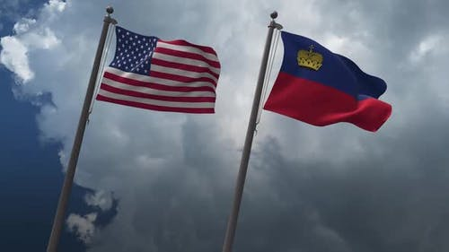 Waving Flags Of The United States And The Liechtenstein 2K