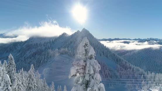 Sunny Mountain Top Rays Of Light Snowing Snow Flakes Crisp Winter Day Title Copy Space Background