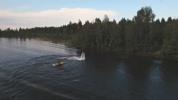 Fly Board Rider on the River