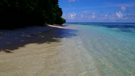 Thumbnail for Wide above abstract view of a white sandy paradise beach and blue sea background