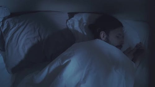 Night Terror Trouble Sleeping Disturbed Man in Bed