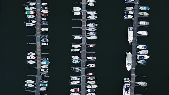 Thumbnail for City's Sea Port with Luxury White Speedboats in the Rows in Harborside