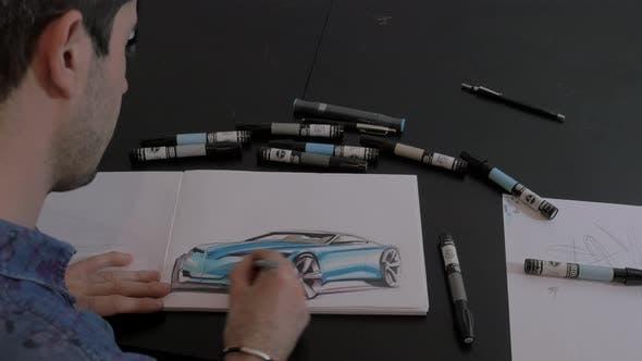 Thumbnail for Man drawing a sport car