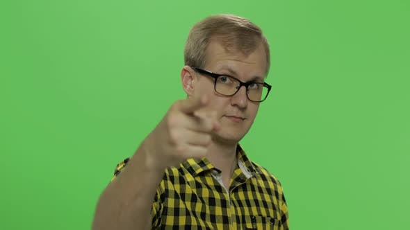 Thumbnail for Handsome Young Man in Yellow Shirt Doing Doing Coming Gesture. Chroma Key