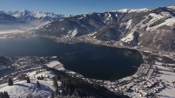 Thumbnail for Aerial view of Lake Zell on a winter day