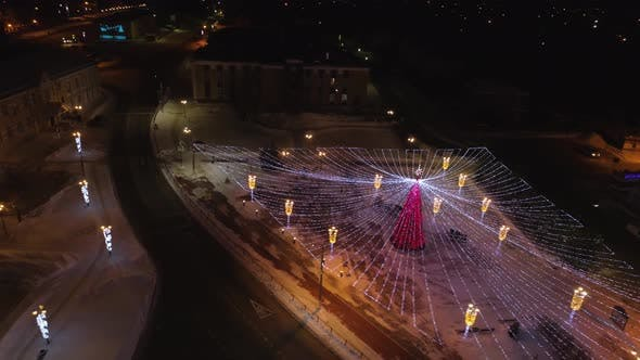 Christmas Illumination in the Winter Evening