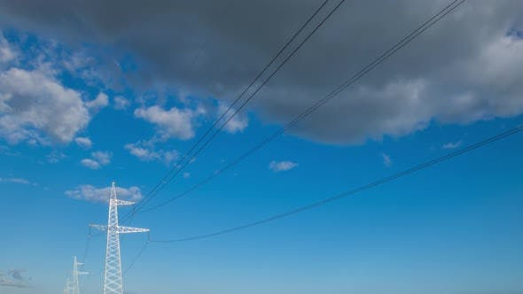 Thumbnail for Wide Angle Power Transmission Lines High Voltage Electricity Grid with Cloudy Blue Sky and Sun Beams
