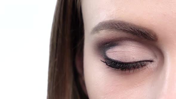 Thumbnail for Blue Eye Makeup. Beautiful Eyes Makeup. Closeup