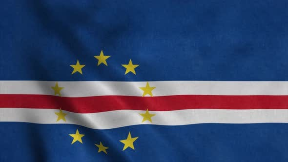 Flag of the Cape Verde Waving in Wind
