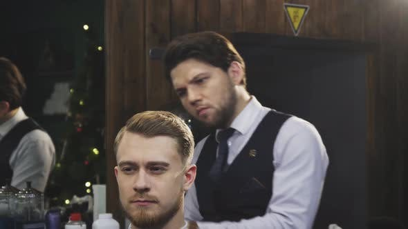 Thumbnail for Professional Barber Working Burning Fire Hair Treatment on His Client