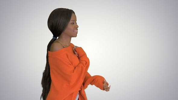 Thumbnail for Beautiful black woman having fun smiling and dancing on