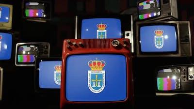 Flag of Oviedo, Spain, and Retro TVs.