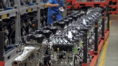 Few of Engines of Automobile in Workshop of Car Factory, Modern Automobile Production