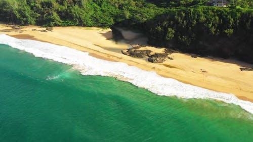 Kauapea Beach Kauai Hawaii Seaboard Waterfront Aqua Blue Green Ocean