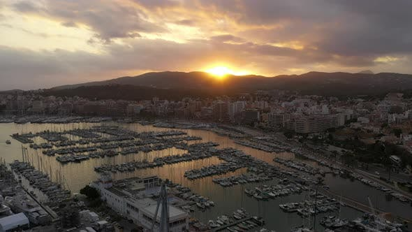 Thumbnail for Marina with Yachts and Ships in Palma De Mallorca Aerial View, Balearic Islands
