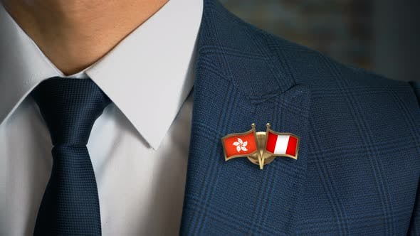 Thumbnail for Businessman Friend Flags Pin Hong Kong Peru
