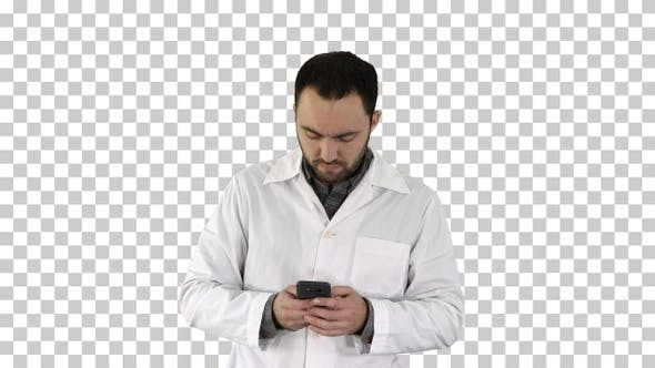 Thumbnail for Doctor talking on mobile phone, Alpha Channel