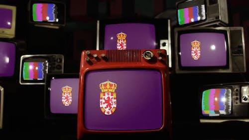 Flagge der Provinz Cordoba, Spanien, auf Retro-Fernsehern.